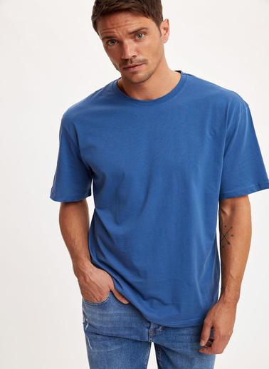 DeFacto Oversize Fit Bisiklet Yaka Pamuklu Basic Tişört Mavi